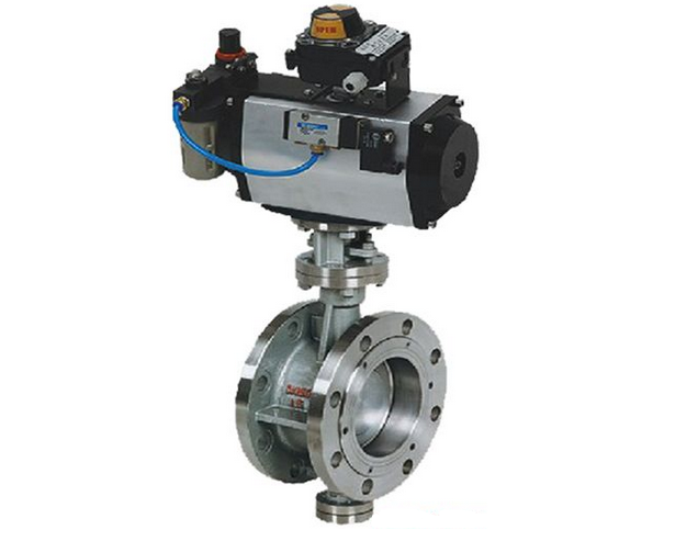 Pneumatic Actuator Wafer Connection Hard Seal Double Flanged Triple Eccentric Butterfly Valve