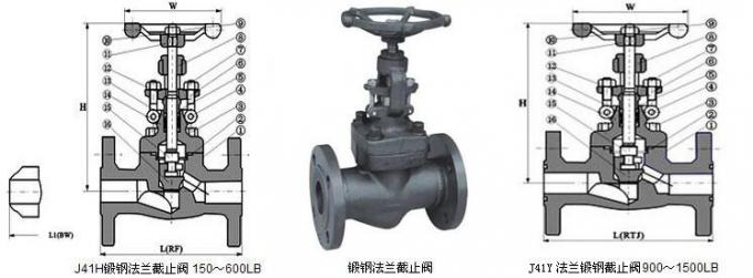 3/4 inch Welded Bonnet Forged Steel Self Sealing RF Flanged Globe Valves A105N
