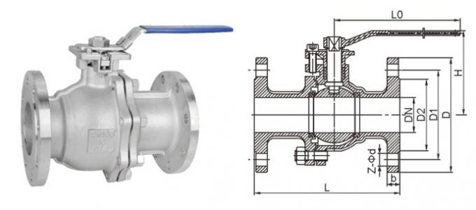 2PC Flanged Ball Valve SS316 ANSI B16.10 Flanged OD BS4504 undrilled