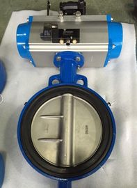 China DN65 Soft Seal Centerline Butterfly Valves Wafer Type With Pneumatic Actuator supplier