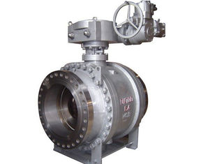 China Carbon Steel 3PC Trunnion Electric Actuator Ball Valve Gearbox BS 5351 PN64 supplier