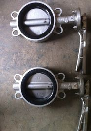 China 80mm PN16 PTFE Lined Wafer Handle Operated Centerline Butterfly Valves supplier