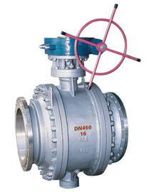 China 3 Piece Full Port Flanged Ball Valve , A216 WCB Gear Box Trunnion Mounted Ball Valve factory