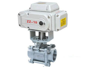 China Full Bore 3 Piece Stainless Steel Ball Valves Threaded With Electric Actuator distributor